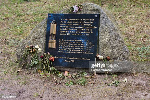 Memorial for Pas de Calais miners deported among 212 French nationals to Sachsenhausen concentration camp in Oranienburg Germany 16 April 2014 after...