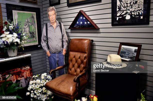 A memorial for Richard 'The Old Man' Harrison from History's 'Pawn Stars' television series is seen at the Gold Silver Pawn Shop on June 26 2018 in...