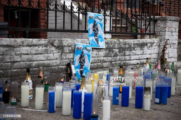 Memorial for Simeon Pierrot, who was killed as he rode a Citi Bike near his home, amid a rise of gun violence in the East Flatbush neighborhood of...