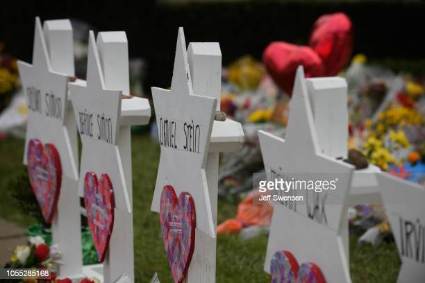A memorial for victims of the mass shooting that killed 11 people and wounded 6 at the Tree Of Life Synagogue on October 29 2018 in Pittsburgh...