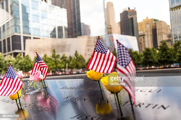 9/11 memorial grounds, manhattan, new york. - september_11_attacks stock pictures, royalty-free photos & images