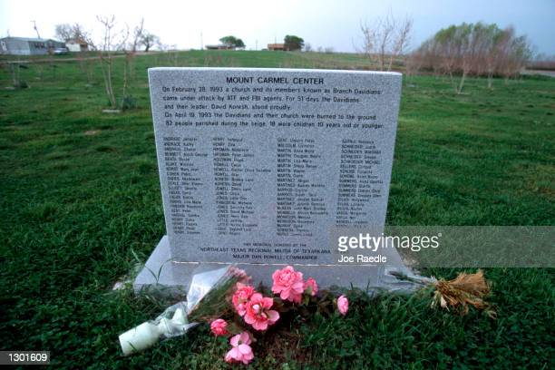 A memorial has been built at the site of the Branch Davidian compound outside Waco Texas March 14 2000 Jury selection is scheduled to begin June 19...