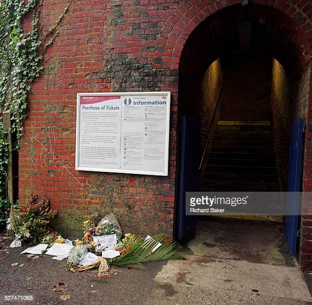 A memorial has been placed where a fictitious TV character called Victor Meldrew was filmed being killed at Shawford Station Hants England UK If we...