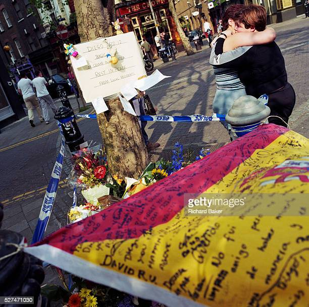 A memorial has been placed where a young Spanish schoolboy boy called 'Diego' died at Seven Dials Covent Garden London England UK If we drove past...