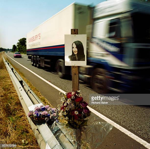 A memorial has been placed where 'Amy' died on the A27 near Binstead Sussex England If we drove past this place where someone's life ended the victim...