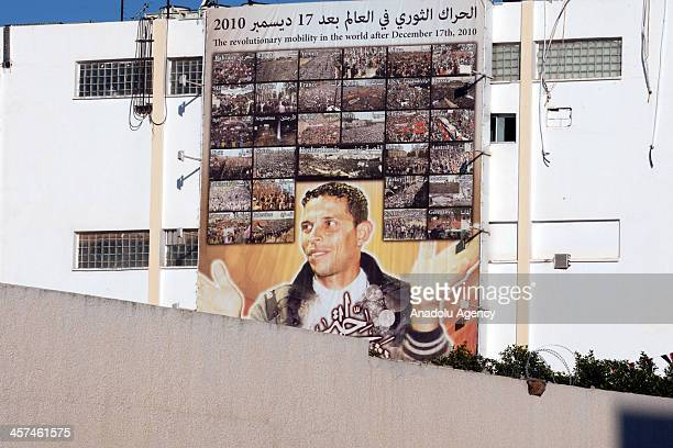 Memorial held for Mohamed Bouazizi a Tunisian street vendor who set himself on fire on 17 December 2010 and became a catalyst for the Tunisian...