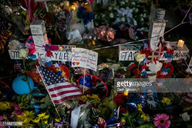 A memorial honoring the victims of the June 1 Virginia Beach shooting stands near the Virginia Beach Municipal Center on June 5 2019 in Virginia...