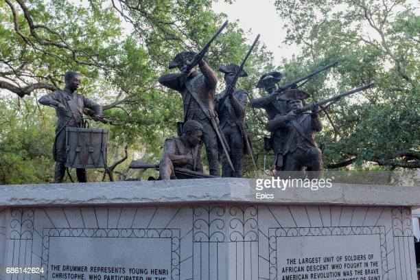 A memorial in downtown Savannah commemorating Haitian soldiers who served in the American Revolution the memorial depicts members of the the...