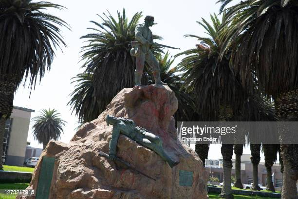 Memorial in honor of German militaries of the First Marine Expedition Corps who died during the Herero War stands in Swakopmund, Namibia, on April 1,...