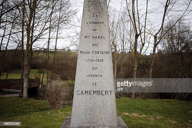 A memorial in tribute to Marie Harel a farmer of the French northwestern village of Camembert who created first in 1791 Camembert cheeses is pictured...