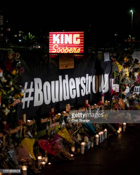 Memorial is erected at a King Soopers grocery store on March 26, 2021 in Boulder, Colorado. The shooting at the King Soopers Grocery on Monday left...