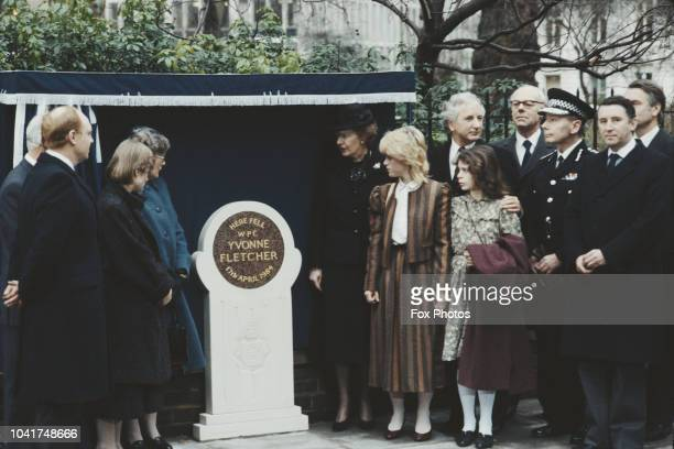 A memorial is erected in St James's Square London to PC Yvonne Fletcher 1st February 1985 Fletcher was shot and killed by a gunman in the Libyan...