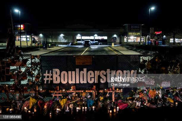 Memorial is erected to those lost in a shooting at a King Soopers grocery store earlier in the week on March 26, 2021 in Boulder, Colorado. The...