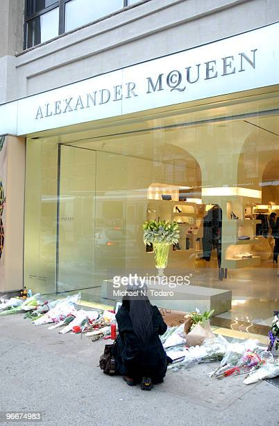 Memorial is seen outside the Alexander McQueen store on February 13 2010 in New York City