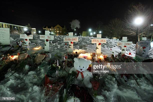 A memorial is set up for those killed in yesterday's shooting at Cole Hall on the campus of Northern Illinois University February 15 2008 in De Kalb...