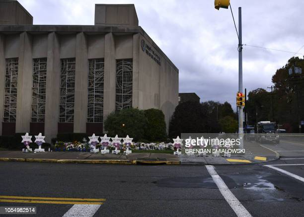 A memorial is viewed outside the Tree of Life synagogue after a shooting there left 11 people dead in the Squirrel Hill neighborhood of Pittsburgh on...