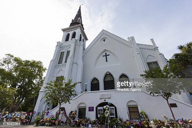 Memorial items line the front of Emanuel African Methodist Episcopal Church a historic black church where Dylann Roof a self declared White...