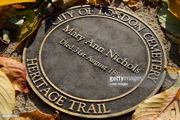 Memorial marker of Mary Ann Nichols who was a victim of Jack the Ripper at City of London Cemetery, Newham, England.