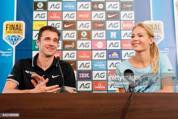 Memorial Meeting Director Cedric Van Branteghem and Russian long jumper Darya Klishina attend a press conference regarding the 2017 edition of the...