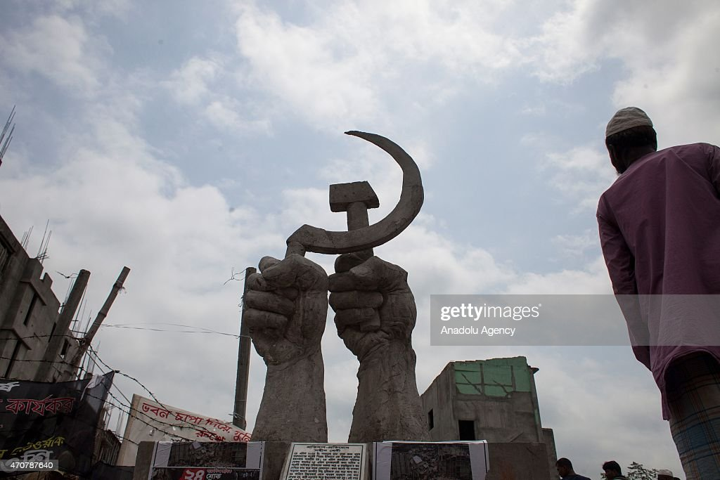 A memorial monument, in memory of victims of Rana Plaza collapse is seen at the site of the accident on the second-year anniversary of the incident at Savar in Dhaka, Bangladesh, on April 23, 2015.