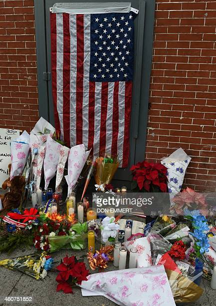 A memorial near Tompkins Ave and Myrtle Ave December 21 2014 in New York near the site where two New York City police officers were shot and killed...