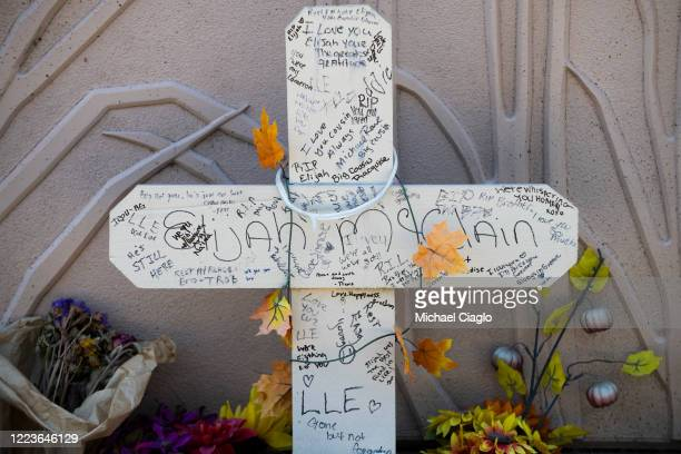 A memorial near where Elijah McClain was forcibly restrained by Aurora police officers on Billings Street is shown on June 30 2020 in Aurora Colorado...