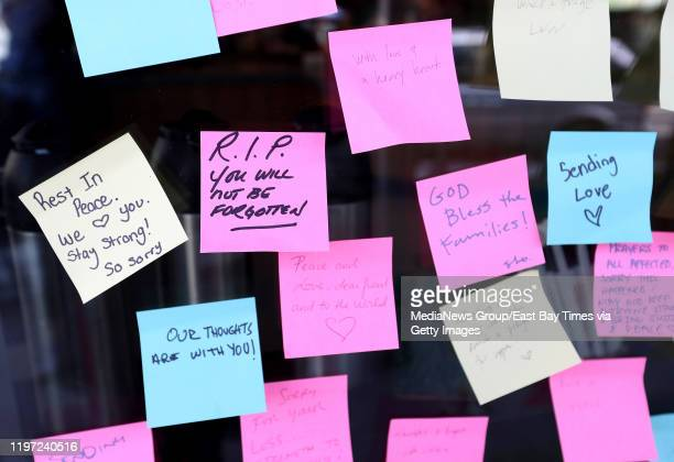 Memorial notes are seen on the window of a Starbucks in the Montclair district of Oakland, Calif., on Thursday, Jan. 2, 2019. A man died on Dec. 31...
