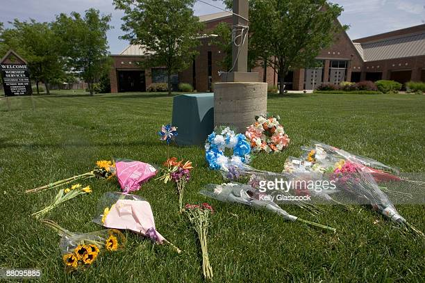 A memorial of flowers is placed in front of the Reformation Lutheran Church June 1 2009 in Wichita Kansas Dr George Tiller a late term abortion...