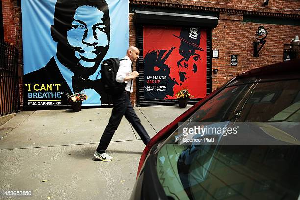 A memorial of Michael Brown next to the one of Eric Garner is viewed outside of filmmaker's Spike Lee's 40 Acres offices on August 15 2014 in the...