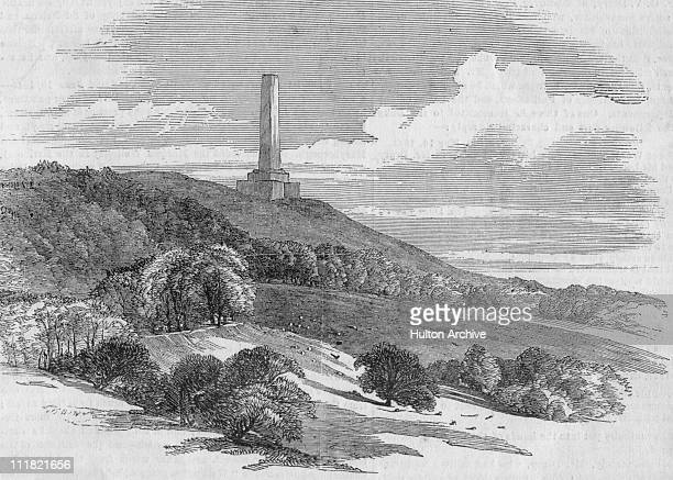 Memorial of the Battle of Waterloo erected on Blackdown Hill near Wellington circa 1860