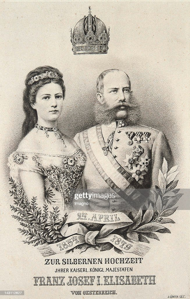 Memorial page on the occasion of the 25th wedding anniversary of Emperor Franz Joseph and Empress Elisabeth. 24.4.1879. Lithograph by J. Günter. : News Photo
