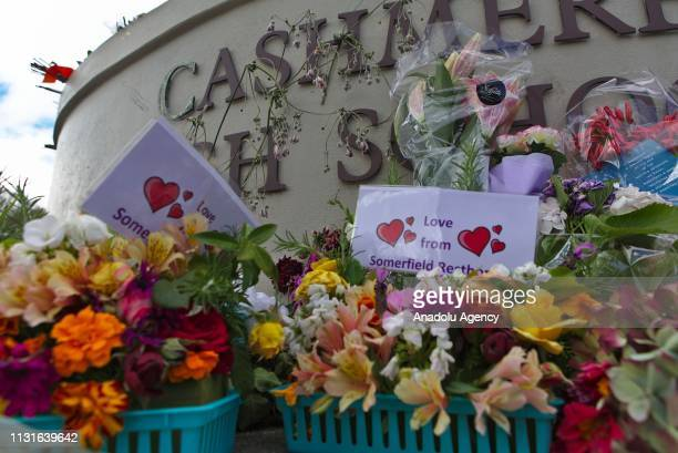 A memorial pays tribute to the students who died at the terrorist attack at Cashmere high school in Christchurch New Zealand on March 20 2019 At...