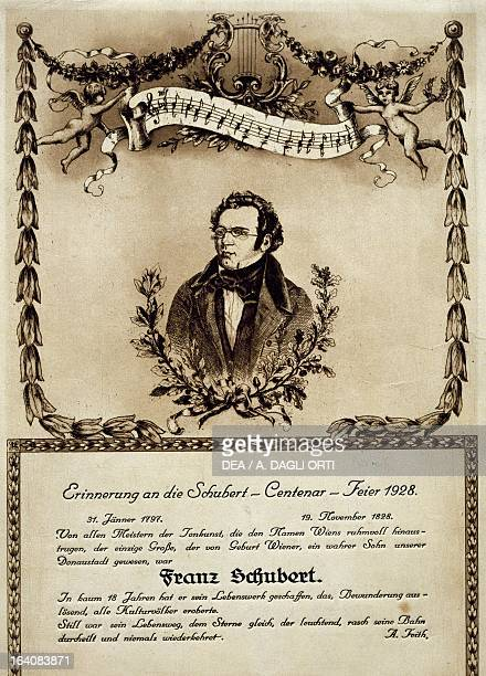 Memorial piece for Franz Schubert to mark the centenary of his death Vienna Historisches Museum Der Stadt Wien