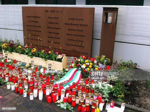 memorial place with flowers and candles to 16 pupils and 2 preceptresses of the grammar school Joseph Koenig Gymnasium in Haltern am See North...