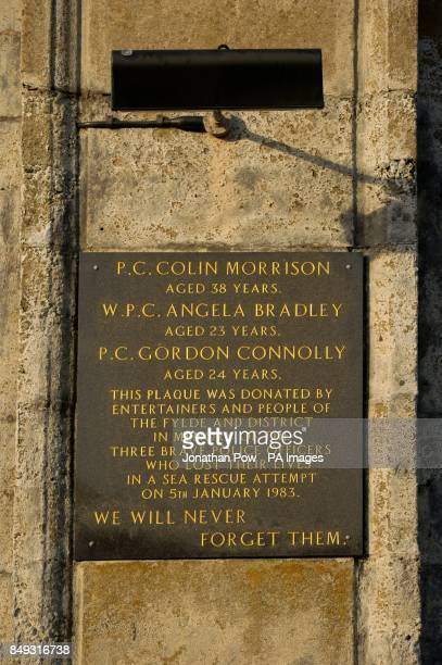 A memorial plaque during the memorial service in Gynn Square Blackpool to mark the 30th anniversary of three Blackpool police officers losing their...