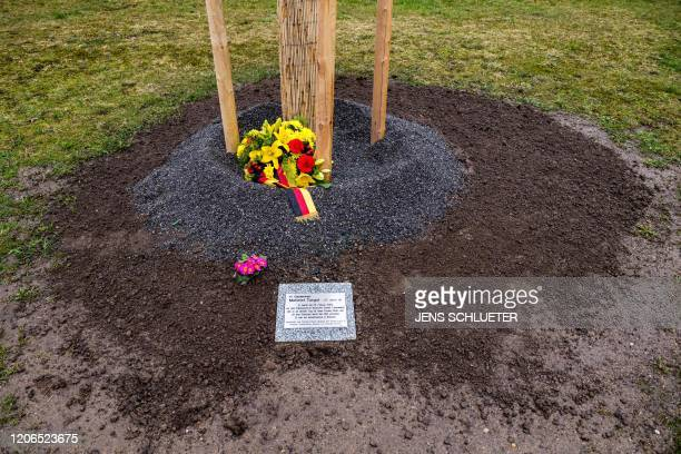 A memorial plaque for Mehmet Turgut killed on February 25 2005 in Rostock is pictured at the memorial site for victims of the farright terror group...