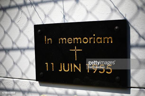 Memorial plaque for the victims of the 1955 disaster is seen on the main straight wall before qualifying for the Le Mans 24 Hour race at the Circuit...