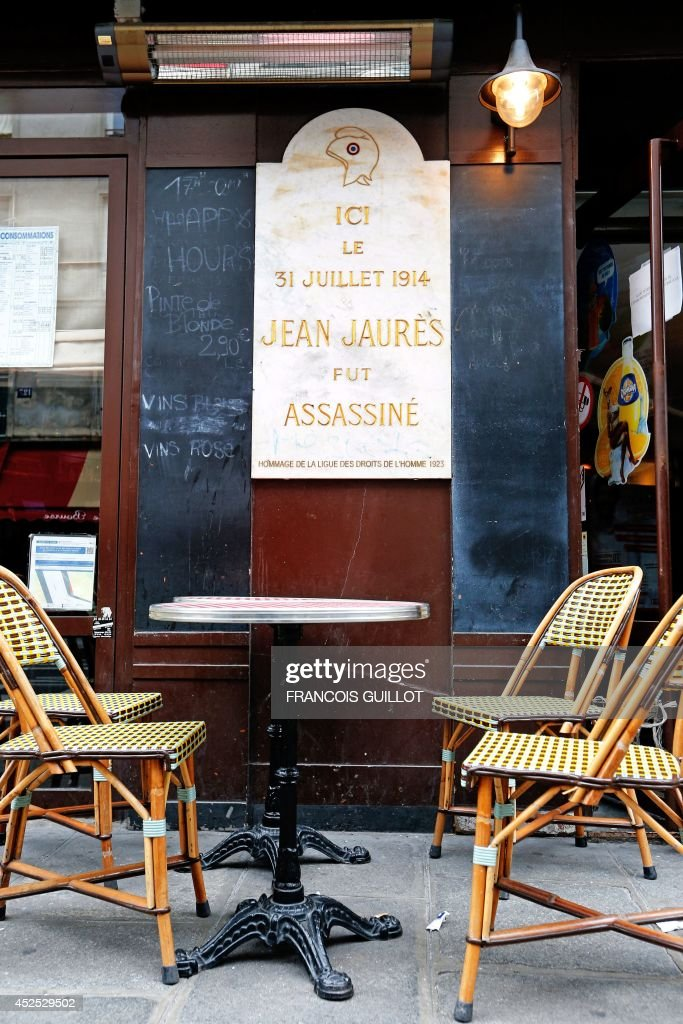 A memorial plaque reading \'Here on July 31, 1914, Jean Jaures was ...