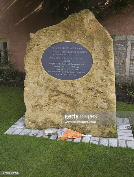 Memorial plaque to Harry Patch the last fighting Tommy from the First World war who died aged 111 in 2009 Wells Somerset England