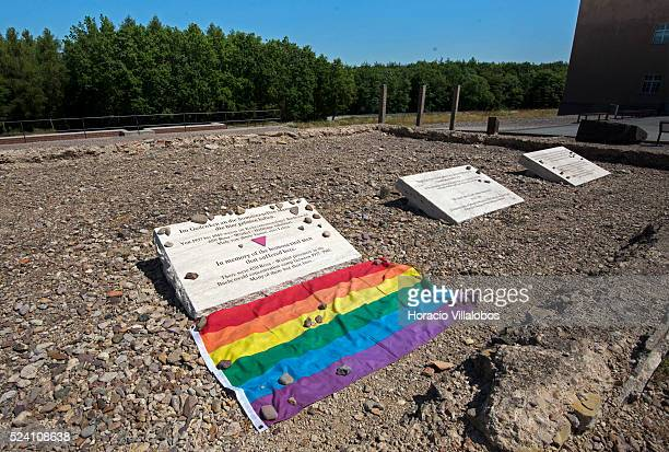 Memorial plaques for homosexuals Jehovah's Witnesses and Wehrmacht deserters are placed where once stood one of the demolished barracks in Buchenwald...