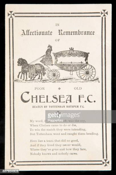 A memorial postcard in affectionate remembrance of Chelsea FC published by supporters of Tottenham Hotspur after a victory by the Spurs over their...