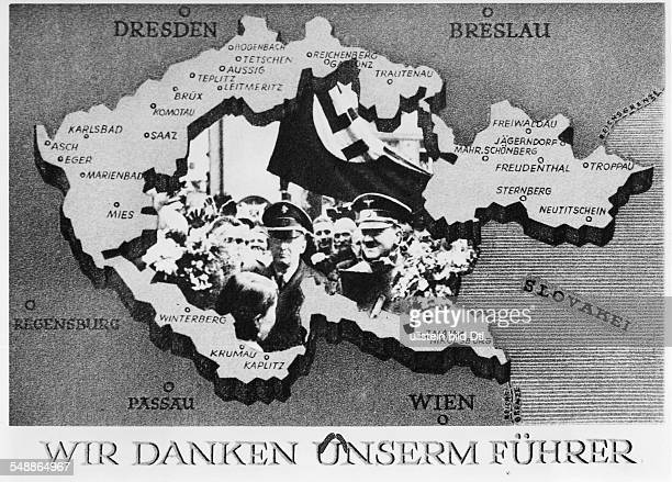 Memorial postcard remembering the election of the Reichstag in the region of the Sudetenland a map is showing the Sudetenland as part of the German...