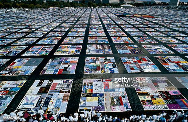 AIDS memorial quilt on the National Mall lawn 20000 quilts are displayed