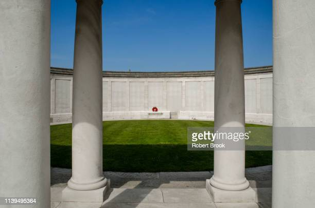memorial rotunda at tyne cot wwi war graves cemetery, ypre salient, belgium - west flanders stock pictures, royalty-free photos & images
