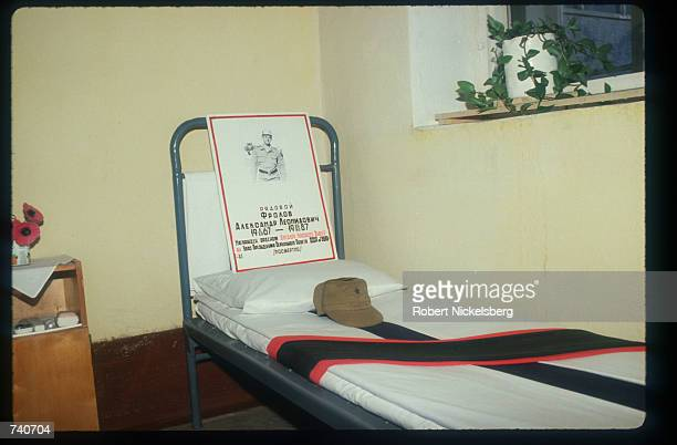 A memorial sash lies on the bed of a dead Soviet soldier May 15 1988 in Khost Afghanistan In May 1988 Afghanistan Pakistan the USSR and the United...