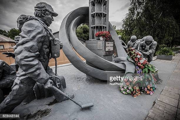 Memorial sculpture in the main entrance to the firemen building in Chernobyl on June 12 2013 The Chernobyl disaster was a catastrophic nuclear...