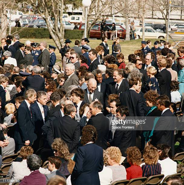 A memorial service at the Johnson Space Center in Houston Texas for the crew of the 'Challenger' space shuttle which broke up shortly after takeoff...