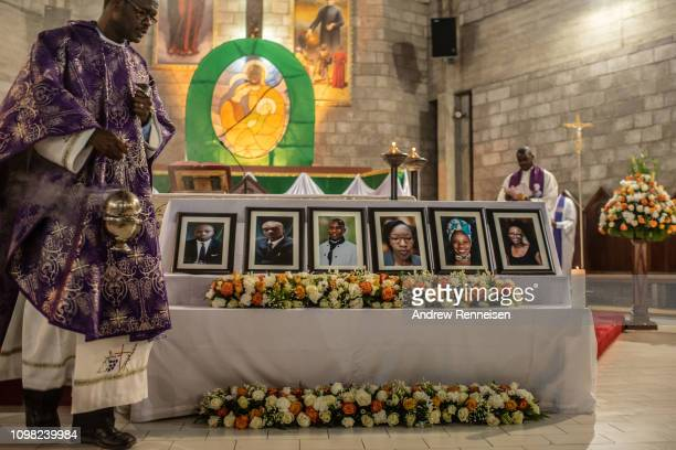 A memorial service is held for six dusitD2 hotel staff members who died during the terror attack on the complex at the Consolata Shrine on January 23...