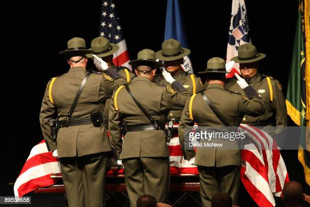 Memorial Services take place for Border Patrol Agent Robert Rosas the victim of the first fatal shooting of a US Border Patrol agent in more than a...