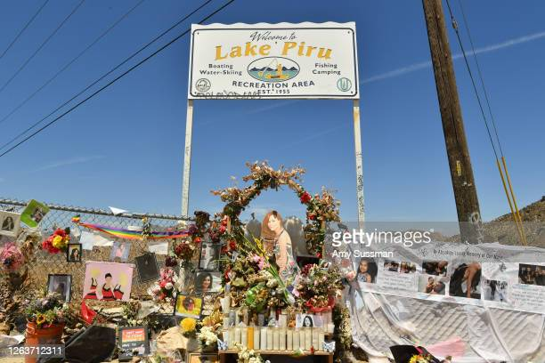 A memorial set up by fans to honor actress Naya Rivera at Lake Piru where Rivera's death was ruled an accidental drowning on August 3 2020 in Piru...